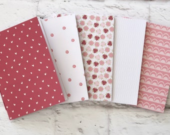 Softcover Notebook Travel Notebook Journal Hand Bound Gift Stationery 32 Lined White Pages *** Sold Individually *** Dusty Rose