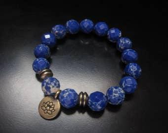 Jasper Lotus Charm Bracelet, Faceted Blue Impression Jasper Stretch Bracelet, Lotus Bracelet, Blue Bracelet, Impression Jasper Jewelry