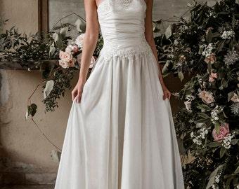 Elopement wedding dress, bohemian wedding dress, beach wedding dress, boho wedding dress, corset silk chiffon wedding dress with train