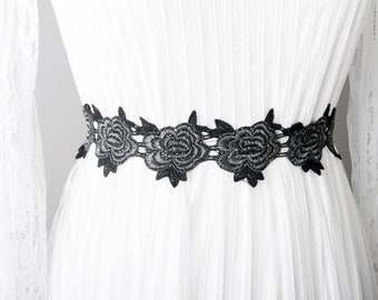 Black Silver Sash Belt Flower Lace Sash Belt - Wedding Sash Belt Bridal Sash Belt - Wedding Dress Sashes Belts