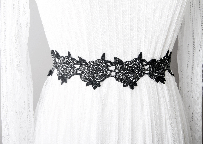 Schwarz-Silber-Schärpe Gürtel Blume Schärpe Gürtel Hochzeit