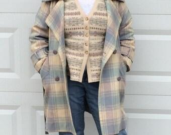Plaid Coat . plaid wool coat . plaid wool  . retro plaid coat .  Vintage Plaid Wool Trench Coat