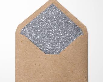 Silver Glitter Lined Envelopes. Pack of 10