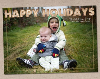 Holiday Photo Card: Happy Holidays Marquee