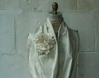 White Scarf, silk cowl, ruffle scarf, wedding accessories, Ruffle, Circle scarves, spring , womenswear