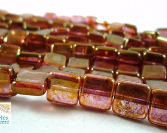 12 glossy Rose Gold Topaze, 9X9X4mm (ptch117) Czech glass beads