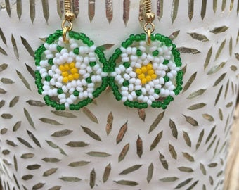 White Poinsettia Circles Earring/ Huichol inspired