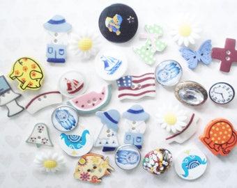 Vintage Novelty Buttons - Ceramic Farmer Buttons - Animal Buttons - Fruit Buttons - Glass Dog Buttons - Blue Boat Buttons - Sunflower Button