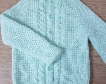 Toddler jumper. 12-18 month cabled cardigan. Mint green jumper. Toddler cardigan. Hand knitted kids jumper. Redeuced to clear.