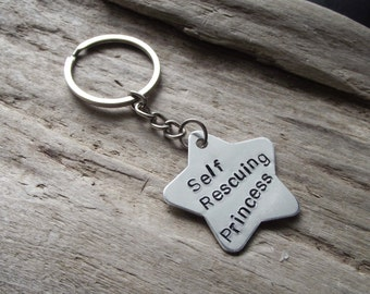 Self Rescuing Princess Keychain- Custom Jewelry Inspirational Feminist Keychain- Cute Stamped Gamer Girl Star Keychain Keyring