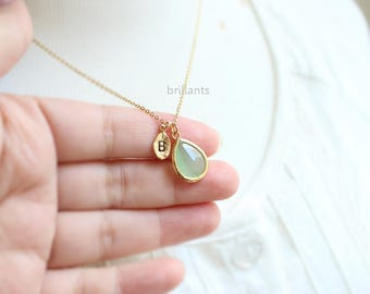 Personalized Mint Green Stone necklace, Mint necklace, Initial, Bridesmaid gift, Wedding necklace, Bridesmaid necklace, Gift for mum