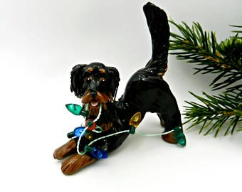 Gordon Setter Dog Porcelain Christmas Ornament Figurine Lights