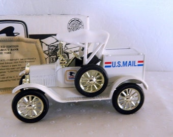 ERTL 1918 U.S Mail Runabout Truck Bank - Second Edition Collector Series - 1988 - Made in USA - MIB - Diecast Metal