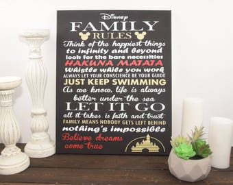 Inspirational Quote Sign, Family Rules Sign, Unique Disney Wall Decor, Canvas Sign, Custom, wall art