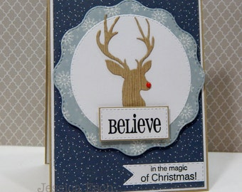Believe in the Magic of Christmas~ Holiday Card, Christmas Card, Handmade