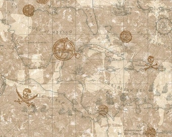 Pirate map wallpaper etsy pirate treasure map boys room wallpaper skull crossbones ships nautical bedroom gumiabroncs Image collections