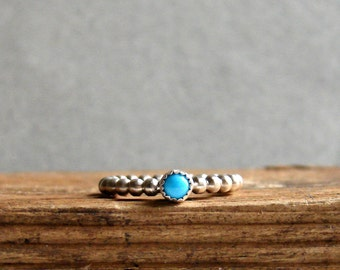 Turquoise Stack Ring Summer Jewelry Blue Turquoise Sterling Silver Ring December Birthstone