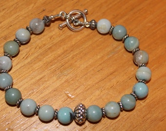 Amazonite and Sterling Bracelet with toggle clasp
