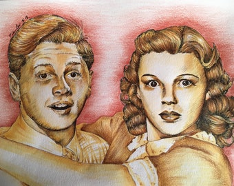 Mickey Rooney and Judy Garland Original drawing .Fan-ART A4.  Babes in Arms