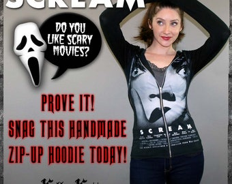 Scream Horror Movie Zip-Up Hoodie Pullover Shirt Top Halloween Ghostface Goth Slasher Horror Merchandise 90s