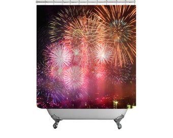 Fireworks Shower Curtain-Bright Shower Curtain-Modern Decor-Fun Bath Decor-Fireworks-Shower Curtain-Bath Curtain-Fabric Shower Curtain