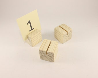 Set of 10 wooden card holders | Table number holder | Cube card holders| Name tag holder | Wedding decor | Card holder