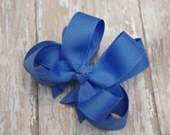 """Girls Hair Bow Capri Blue Double Layered 4"""" Boutique Hairbow"""