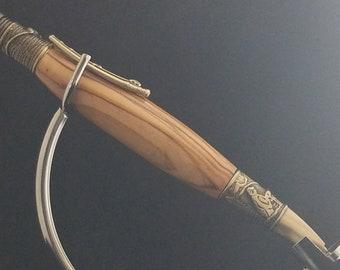 Custom Handmade Fly Fishermen Pen in Olive Wood from Bethlehem