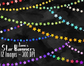 Star Banners Clipart - Star Bunting Download - Instant Download - Faux Watercolor Star Banners