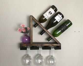 "Rustic Wine Rack: ""SAIL"" Geometric Rustic Wood Wine Bottle Display"