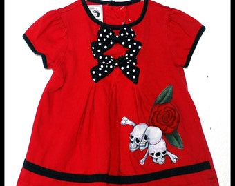 Girls Rockabilly Dress in Red with Skulls, Bones and Roses ........Size 18 months baby girls