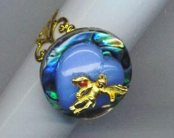 Cupid Ring . Cupid Angel . Vintage Angel . Ruby Red Stone . Blue Heart . July Birthstone . Adjustable Ring - Cupid  by enchantedbeas on Etsy