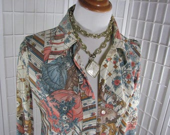 1970s Nylon Blouse with Scenes of the French Court....  size 34 or Small