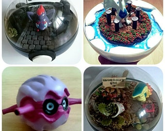Forretress POKÉMON TERRARIUM - Custom Pokemon Gift / Pokeball Diorama / Fairy Garden / Pokemon Miniature
