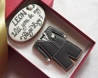 Personalised Will you be my Page Boy / Ring Bearer Cookie Gift Box - Gift for Page boy - Gift for Ring Bearer