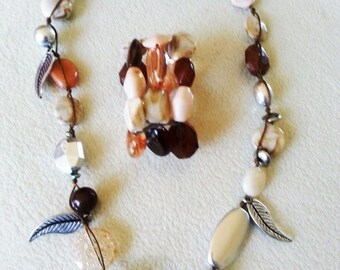 Fashion Necklace & Multi-Strand Bracelet Silvertone-Beige-Brown Faceted Marbled Beads