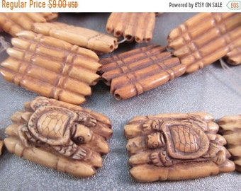 ON SALE 20% OFF Camel Bones Carved Turtle Beads 6pcs