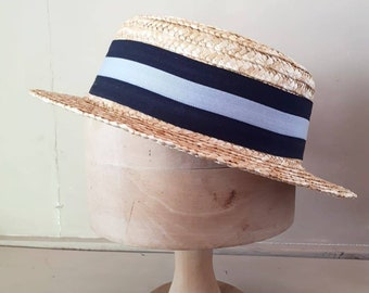 Mens straw boater vintage grey blue pale straw