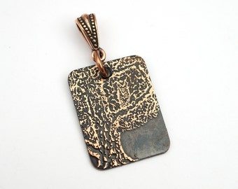 Copper owl in tree pendant, small flat rectangular jewelry, optional necklace, 25mm