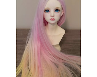 BJD handmade gradient/ ombre color long straight  wig pink yellow orange
