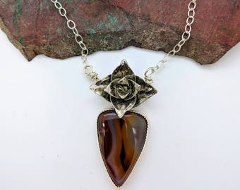 succulent agate sterling silver necklace