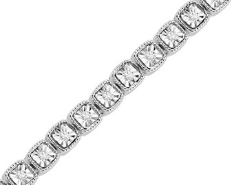 1/4 CT. T.W. White Gold Diamond Tennis Bracelet or Womens Sterling Silver Jewelry, Bracelet For Her