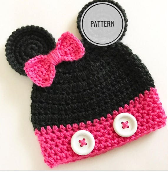 Crochet pattern Minnie Mouse hat Minnie mouse beanie