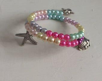 Beaded braclet,pearl bracelet,Boho chick,Gift for her,rainbow bracelet,