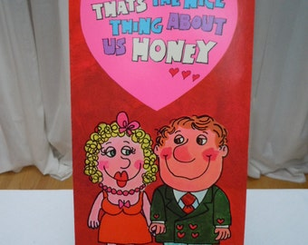 "Vintage 60's Large -VALENTINE Card  "" We Fit Honey "" 1960's New Old Stock    15"" Long"