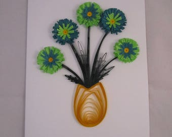 Paper Quilled Gerbera Daisy Greeting Card - Handmade