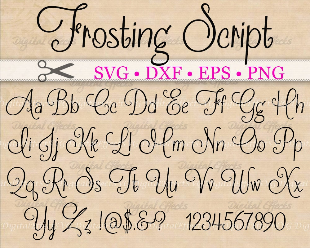 Frosting script svg handwriting font retro monogram
