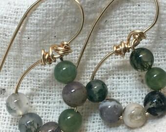 Reproduction earrings, Roman earrings, green jewelry, stone earrings, fancy jasper, jasper earrings, Roman jewelry, museum earrings
