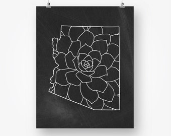 arizona print, arizona map floral, chalkboard state map printable, arizona state print, black and white wall decor, instant download