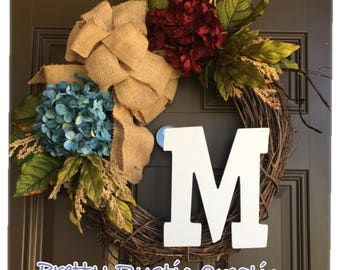 Patriotic wreath with monogram for front door- red and blue hydrangeas wreath - all year wreath-everyday wreath-front door decor - wreaths